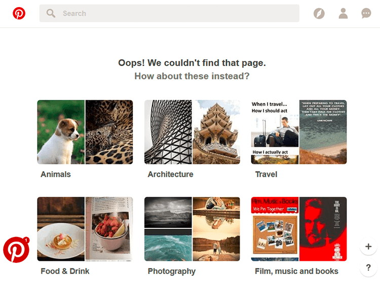 Image example of pinterest's 404 error page
