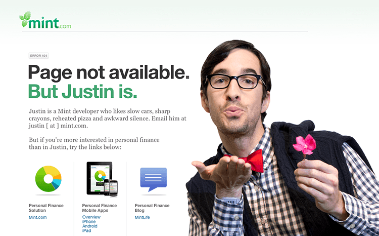 Image example of humourous 404 error page by mint