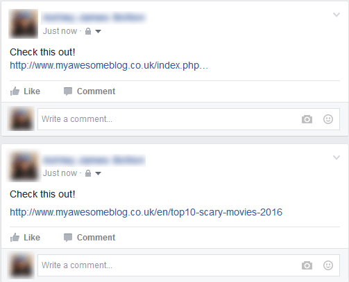 Image example of how descriptive URLs look on Facebook