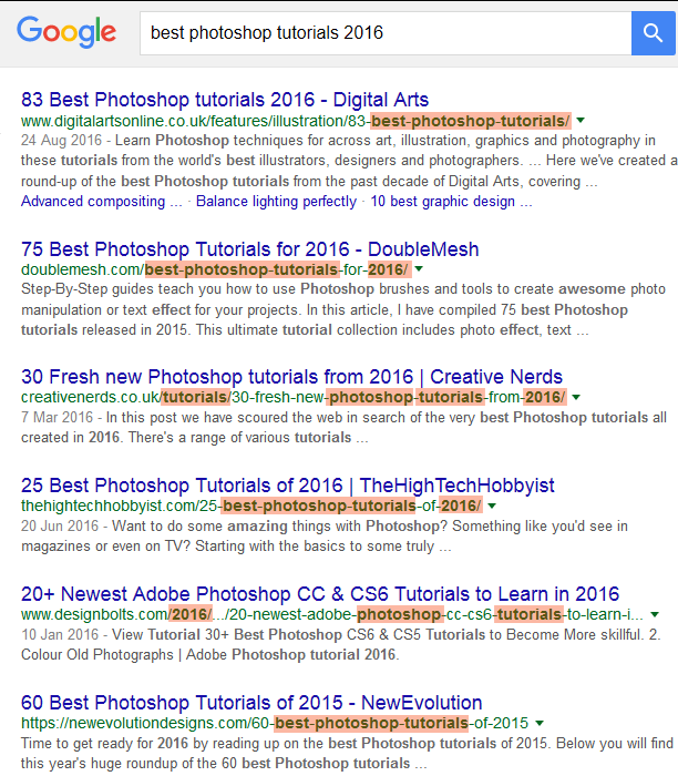 Image of a Google search showing the SEO importance of URL keywords