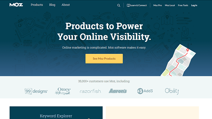 Example of Moz.com Above the Fold