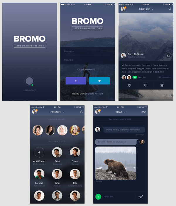 bromo free social media app psd template codesmite. Black Bedroom Furniture Sets. Home Design Ideas